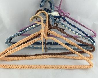 Vintage Crochet Clothes Hangers, Retro Hangers Set of 6