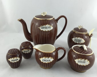 Vintage Relco Creation Japan Coffee Set With Matching Salt & Pepper, Hand Painted
