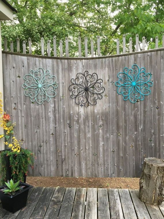 Outdoor metal wall art wall decor faux wrought by for Outdoor patio wall decor