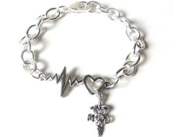 Doctor MD Physician Pediatrician Oncologist Health Care Worker Medical Heartbeat Vital Sign Bracelet You Choose Bracelet Length