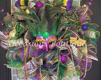 Mardi Gras Wreath, Wreath for Door, Front door Wreaths, Mardi Gras Decoration, Deco Mesh, Mardi Gras Party, Wreath for door
