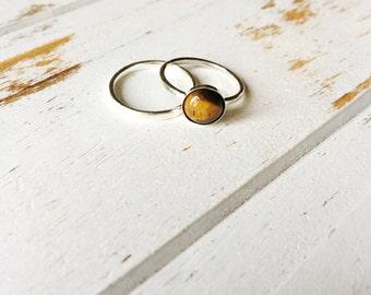 Tiger Eye Ring, Sterling Silver Ring, Tiger Eye Ring Set, Balance Emotions Ring, Gemstone Ring, Intention Ring, Gemstone Jewelry