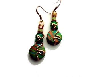 Turquoise, Copper, and Lime Green Wire Wrapped Polymer Clay Earrings