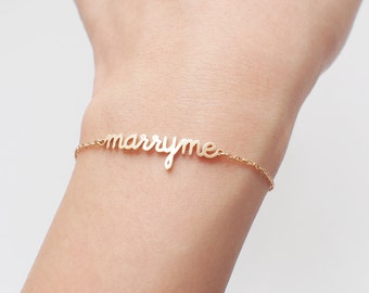 Love Message Jewelry - Custom Name Bracelet - Marry Me Bracelet - Valentines Gift for her - ...