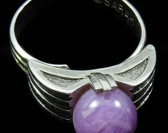 Vtg Sarah Coventry Ring Egypt Marbled Purple Bead Silvertone Adjustable 1970s
