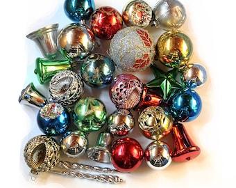 Vtg Christmas Ornaments Plastic Multicolored Lot of 28