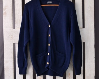 M 1980s Land's End Women's Cardigan Sweater Preppy Button Up Sweater Navy Blue Big Faux Tortoise Buttons V Neck Cardigan Medium Blue Sweater