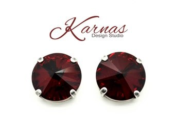 SIAM 14mm Crystal Rivoli Deep Red Stud Earrings Swarovski Elements *Rhodium or Antique Silver *Karnas Design Studio *Free Shipping