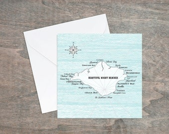 Beautiful Wight beaches greetings card, in white and blue.