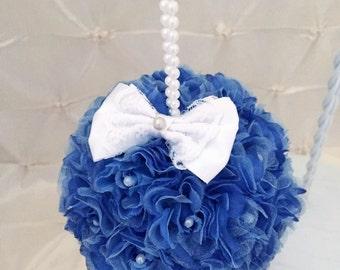 "Navy Kissing Ball Wedding Pomander Flower Girl Flower Ball Pew Free Hair Pin 5"" Bridesmaid Rose Kissing Ball White Satin Bow Pearl Handle"