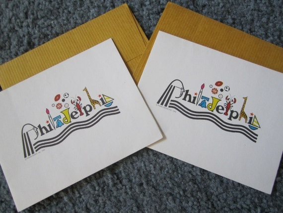 Pair 1976 Philadelphia Bicentennial Notecards Graphics By