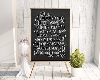 18x24 Wedding sign, Reception sign, chalkboard, no pictures, wedding sign, funny sign, Instant download, digital file, Downloadable print
