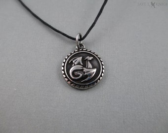 Round Dragon Charm Necklace
