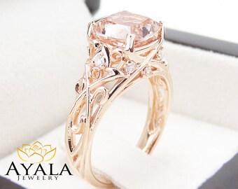 Peach Pink Morganite Engagement Ring 14K Rose Gold Cushion Ring Cushion Cut Morganite Ring Unique Engagement  Ring