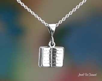 "Sterling Silver Book Necklace with 16-24"" Chain or Pendant Only .925"