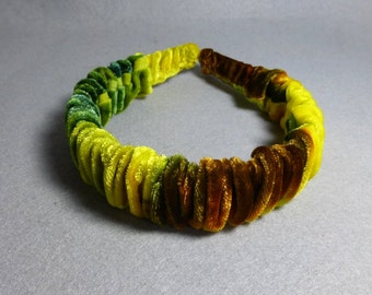 "Velvet Headband ""Yellow and Bronze Blend"", Hand Painted Velvet Headband, Yellow Headband"