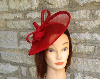 Red wedding hat poppy red fascinator hat on headband wedding fascinator red races fascinator Kate Middleton hat tea party hat red formal hat