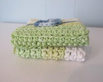 Crochet Lime Wash Cloths (Set of 2)