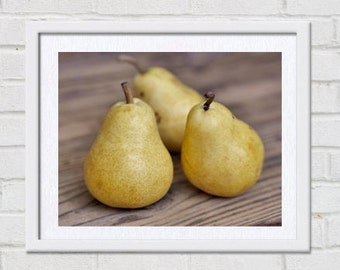 Fruit photography, pear picture, food wall art, food photography kitchen art print, fruit still life print, rustic kitchen decor, farmhouse
