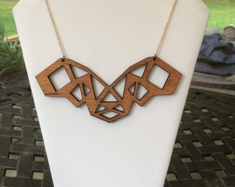Laser-Cut Wood Necklace