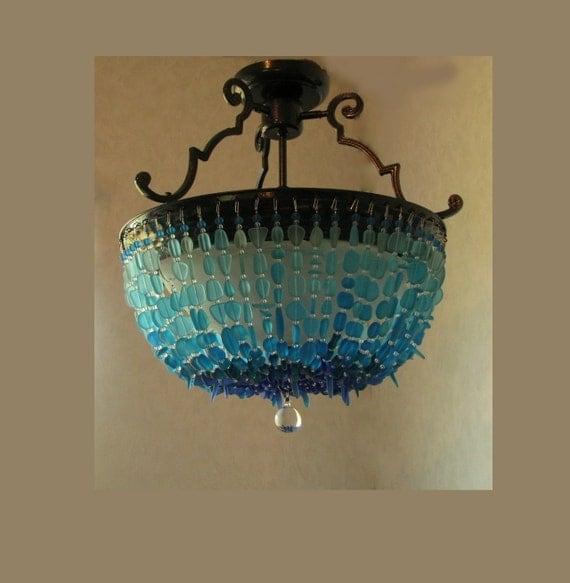 Beach Lighting Fixtures: Sea Glass Chandelier Lighting Blue Ombre Coastal Decor Beach
