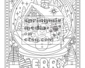 Christmas coloring page - Holiday Xmas Snow Globe  - Christmas Treats Holiday Coloring Book - Adult Coloring Page
