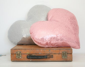 Master bed room heart pillow, Pink sequins pillow, Heart cushion, Sweat home decor, Sparkly pillow, Glossy Pink heart pillow, Sequin pillow