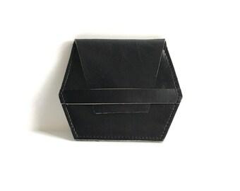 Leather wallet in black // minimal slim hex card case