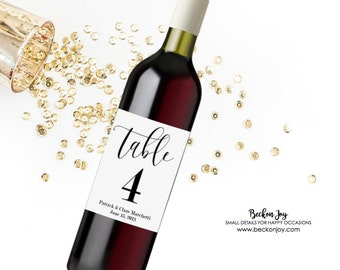 Rustic Wine Bottle Table Numbers- Kraft Brown OR White Wine Labels- Wedding Decor- Centerpiece