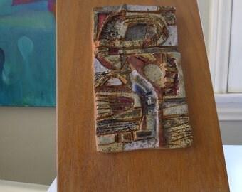 Rosmary Zwick wall art tile, Brutalist Art Pottery, Mid Century Modern art