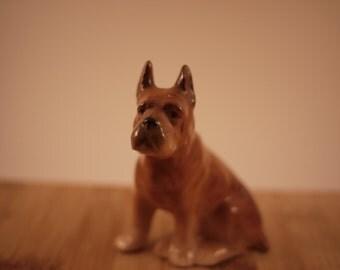 Vintage Hand Painted Porcelain Brown Boxer Dog Figurine