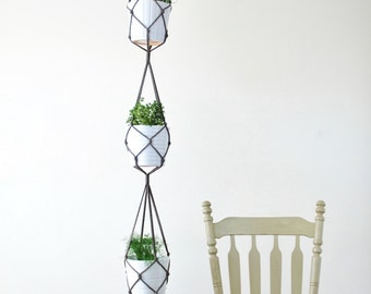 Three Tiered Macrame Plant Hanger // Simple Hanging Plant Holder for Three Plants // Modern Macrame for 3 Pots // Long Hanging Pot Holder