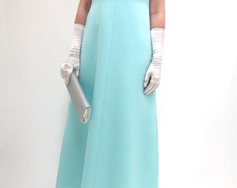 Superb Vintage 1970's 70's Turquoise Party Evening Prom Gown Maxi Dress Silver Pearl Decoration Size 14 - 16