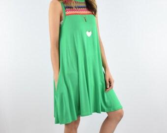 Multi Zigzag trimmed Aline tunic/mini dress with pocket S to XL