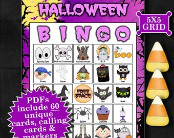 Halloween - Purple 5x5 Bingo (60 CARD) printable PDFs contain everything you need to play Bingo.