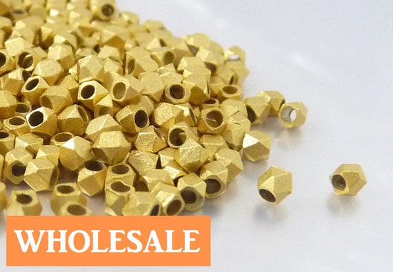 WHOLESALE 2.5mm Faceted spacer, large hole metal spacer bead, Matte brushed gold spacer - 190+ PCS per strand