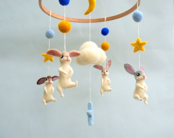 Bunny Mobile Baby mobile Felted animal mobile Easter decor White rabbit mobile White nursery mobile Felted Bunny mobile Kids room decor