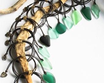 Long Leather Sea Glass Pendant Necklace