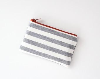 coin purse small pouch - grey white stripe