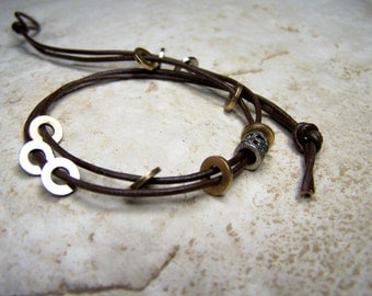 Brown Leather Anklet, Tie on Anklet, Sizes 6-12 Inchs, Bracelet Ankle, Black Leather, Leather Anklet, Beaded, Gypsy Anklet,