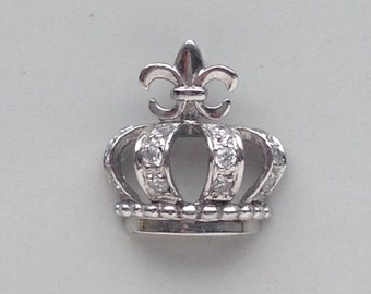 Queen For the Day Sterling Silver 925 Crown Pendant with CZ
