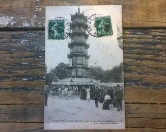 """Antique / Vintage Post Card From Paris France - 1900's - Paris Colonial Exposition - """"La Tour De L'Annam"""" Vietnam"""