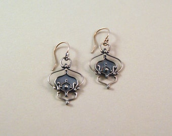 Sterling silver dangle earrings.  Handmade.  Unique.  Limited edition.  Complex.