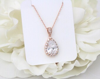 Rose Gold Bridal necklace, Crystal Wedding necklace, Bridesmaid necklace, Bridal jewelry, Wedding jewelry, Swarovski crystal necklace