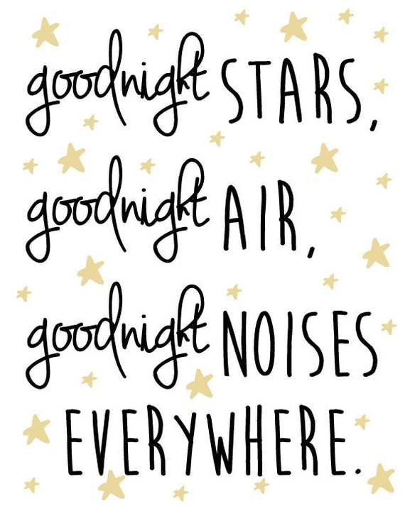 Nursery Star and Moon Digital Print- Goodnight stars, goodnight air, goodnight noises everywhere