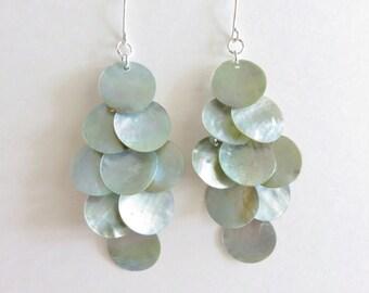 Long Shell Dangle Earrings - Mussel Shell Earrings, Grey Blue, Grey Earrings, Big Earrings, Beach Jewelry, Beach Wedding, Chandelier Earring