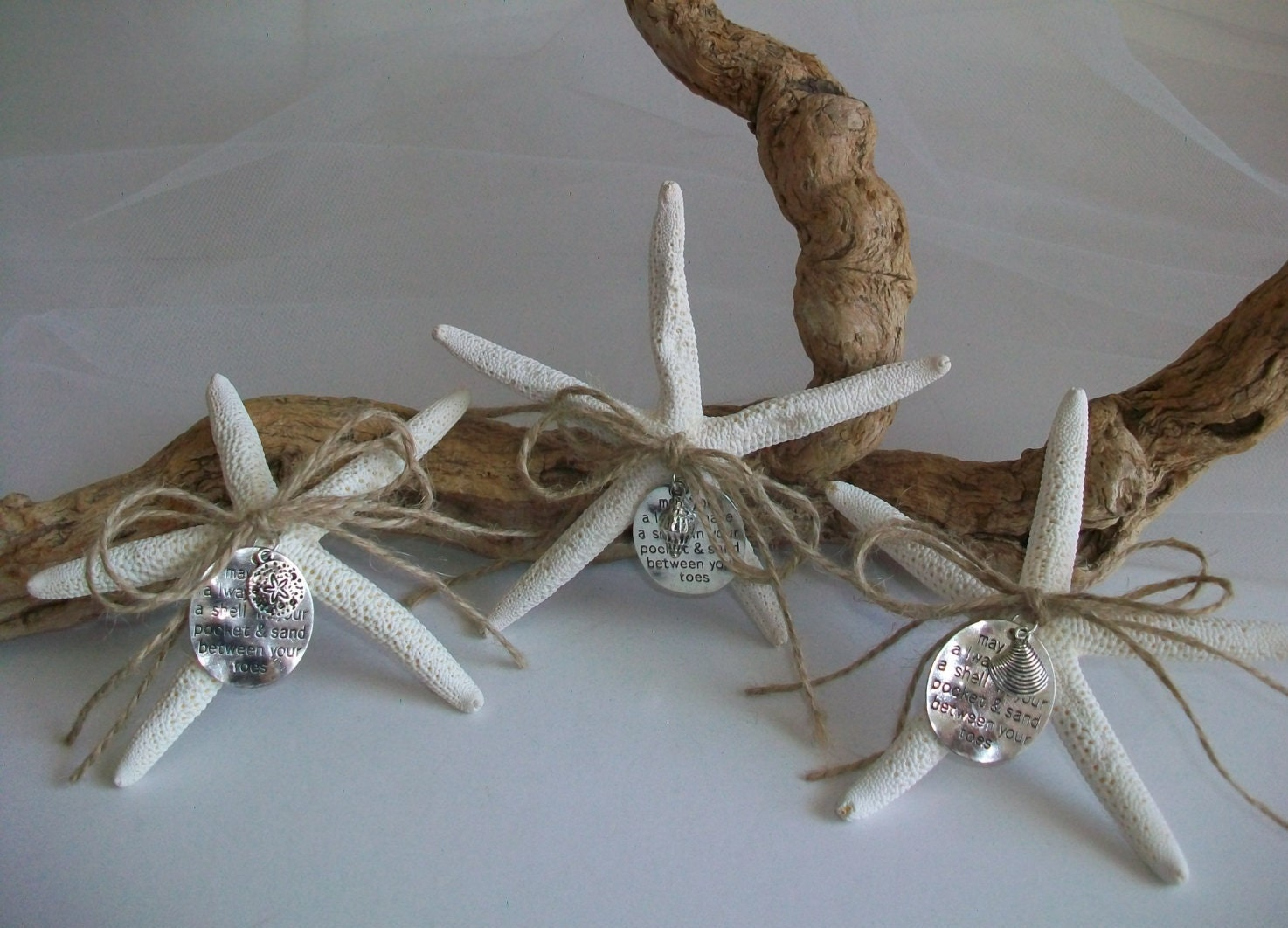 Beach ocean theme embellished starfish favors wedding bridal for Ocean themed wedding dress