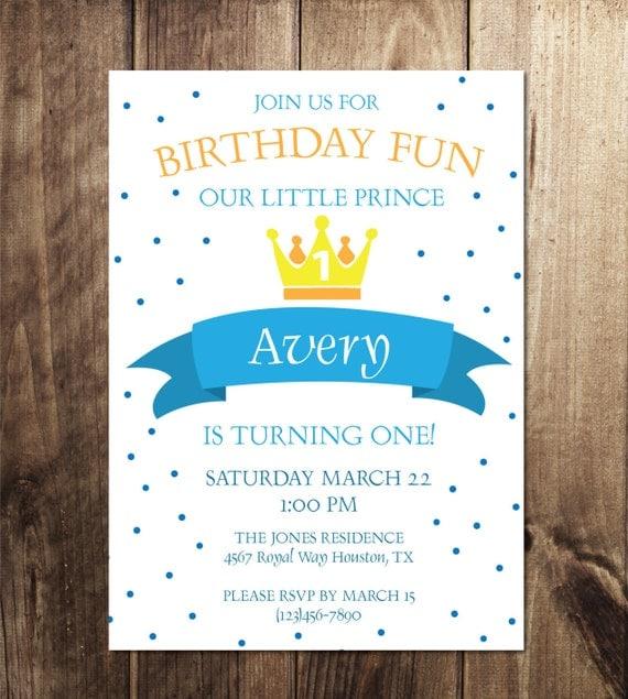 Prince Birthday Party Invitation Prince Theme BirthdayTwin – Prince Party Invitations