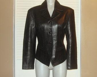Black Leather Blazer TUXEDO Style Fitted Jacket~M~