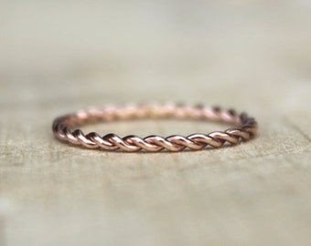 Stackable Ring Set | Stack Ring | Thin Rose Gold Ring | Stackable Rings [Twist Ring]